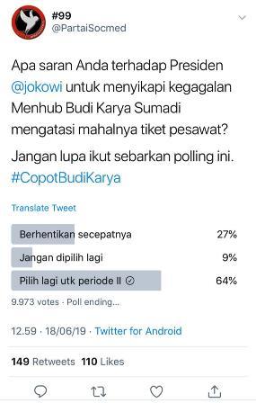 poling netizen lebih memilih Budi Karya tetap menjadi Menteri